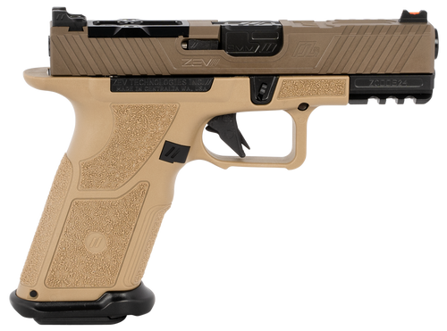 "ZEV Technologies O.Z-9 Compact X 9mm, 4"" Black Barrel, Steel Frame, Polymer X Grip, Flat Dark Earth, 17rd"