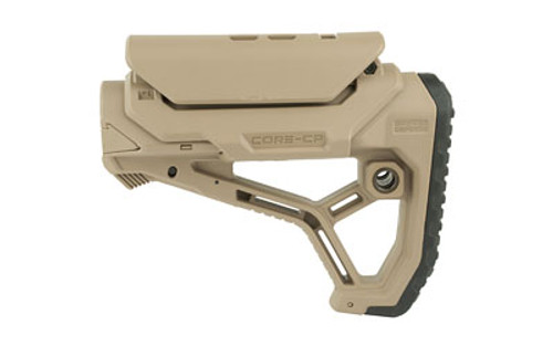 FAB Defense AR-15 Buttstock, Fits Mil-Spec And Commercial Tubes, Adjustable Cheek Rest, Tan Finish