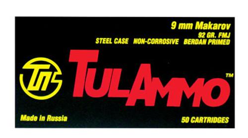 Tulammo 9x18mm Makarov 92gr, Full Metal Jacket, 50rd Box