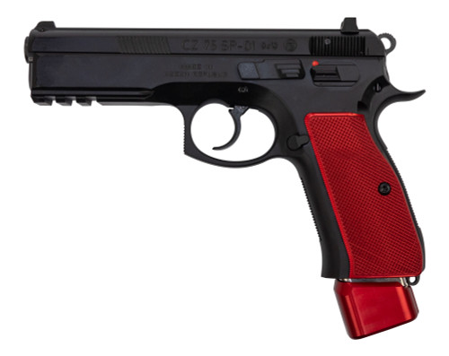 "CZ 75 SP-01 9mm, 4.6"" Barrel, Black / Red Henning Aluminum Grip/Mag Cap, 22rd"