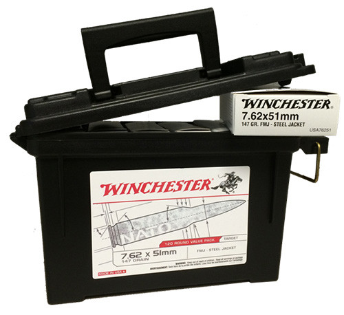 Winchester 7.62mmx51mm NATO 147gr, FMJ, 120rd Ammo Can