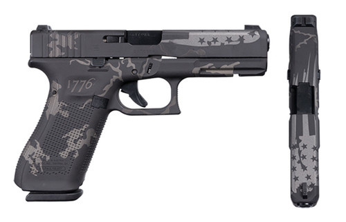 "Glock 17 Gen 5 9mm, Apollo Custom, 4.5"" Barrel, Black & Gray Flag W/1776 Camo, 3x 17rd"