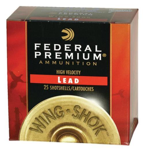 "Federal Premium Wing-Shok High Velocity Lead 12ga, 2.75"", 1-1/8oz, 4 Shot, 25rd/Box"