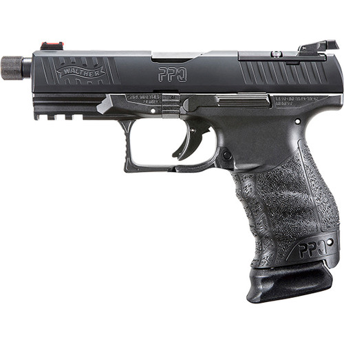"Walther PPQ Classic Q4 TAC Striker Fired, Full Size 9mm, 4.6"" Threaded Barrel, Polymer Frame, Black Tenifer Finish, 15Rd 2 17rnd mags"