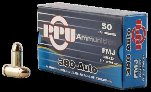 PPU Handgun 380 ACP 94gr, Full Metal Jacket, 50rd Box