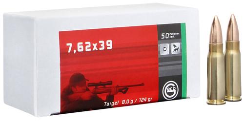 GECO 7.62X39 124gr, FMJ, Brass Cased, 20rd Box