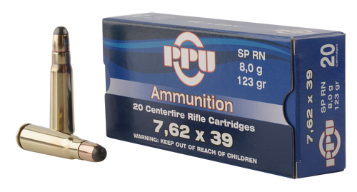 PPU PP375F Metric Rifle 7.62x39mm 123gr, Soft Point, 20rd Box