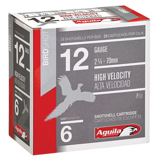 "Aguila Hunting High Velocity 12 Ga, 2.75"", 1-1/4 oz, 6 Shot, 25rd Box"