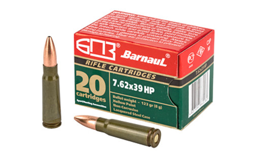 Barnaul Ammunition 7.62x39mm 123gr, Hollow Point, Steel Lacquered Case, 20rd Box