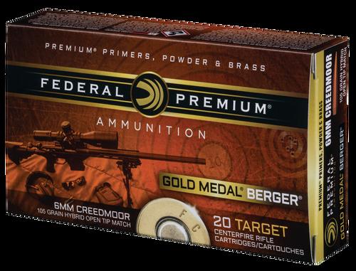 Federal Gold Medal  6mm Creedmoor 105gr, Berger Hybrid Open Tip Match, 20rd Box