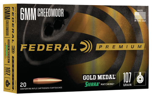Federal Premium Gold Medal 6mm Creedmoor 107gr, Sierra MatchKing Boat-Tail Hollow Point, 20rd Box