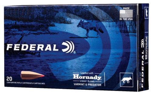Federal Varmint & Predator 22-250 Remington 40gr, Hornady V-Max, 20rd Box