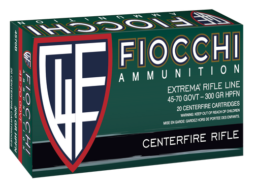 Fiocchi Extrema 45-70 Government 100gr, 300gr, Jacketed Hollow Cavity, 20rd Box