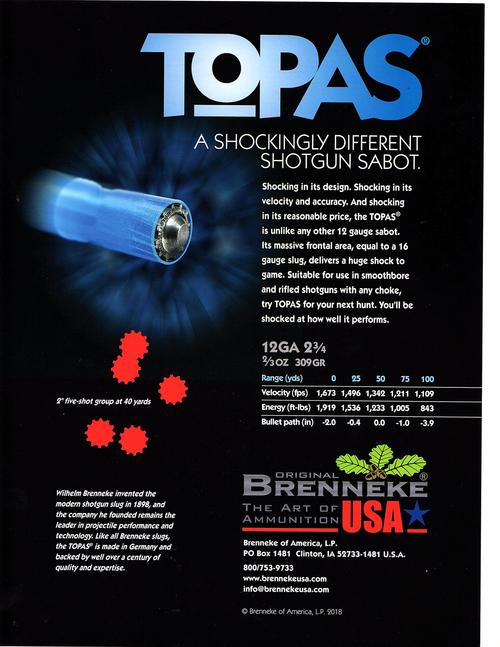 """Brenneke TOPAS Sabot 12 Ga, 2.75"""", 2/3 oz, Sabot Slug Shot, 5rd Box"""