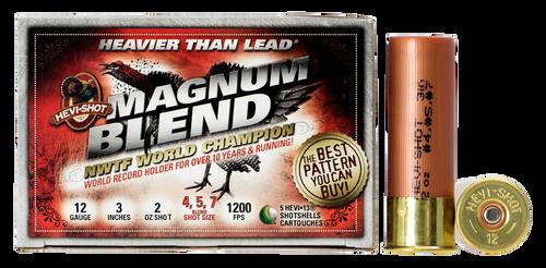 "HEVI-Shot Magnum Blend 12 Ga 3"", 2oz, 4,5,7 Shot, 5rd Box"