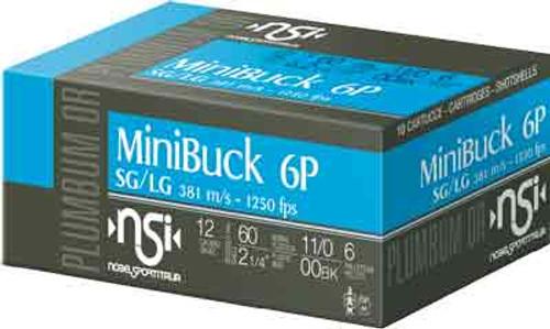 "NobelSport Law Enforcement Buckshot 12 Ga, 2.25"", 1250 FPS, 6 Pellets, 00 Buck, 10rd Box"