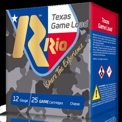 "RIO Top Game Texas Game Load Standard Velocity 12 Ga, 2.75"", 1-1/4oz, 8 Shot, 25rd Box"