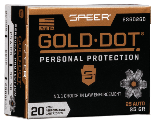 Speer Gold Dot Personal Protection 25 Automatic Colt Pistol (ACP) 35gr, Hollow Point, 20rd Box