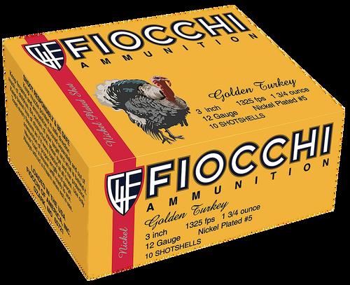 "Fiocchi Turkey Nickel Plated 12 Ga, 3"", 1-3/4oz, 5 Shot, 10rd Box"