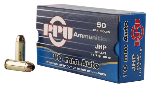 PPU Handgun 10mm ACP180gr, Jacketed Hollow Point, 50rd Box