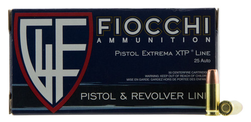 Fiocchi Extrema 25 ACP 35gr, Jacketed Hollow Point, 50rd Box