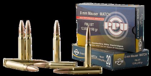 PPU Match 8mm Mauser 200gr, Full Metal Jacket, 20rd Box
