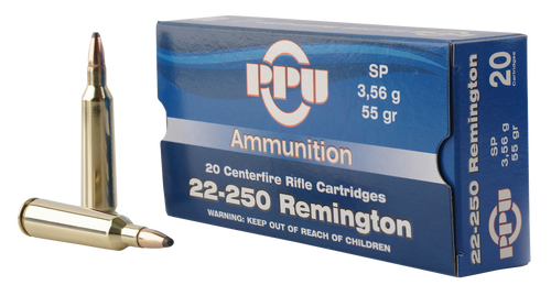 PPU Standard Rifle 22-250 Remington 55gr, Soft Point, 20rd Box