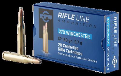 PPU Standard Rifle 270 Winchester 150gr, Soft Point, 20rd Box