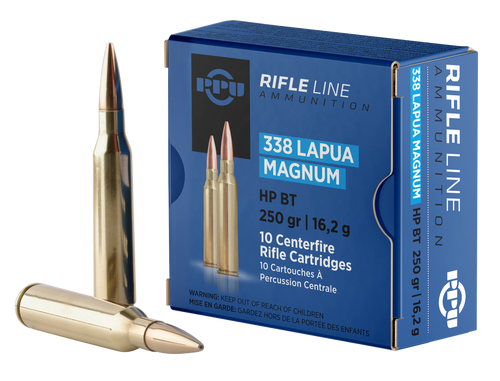 PPU Standard Rifle 338 Lapua Mag 250gr, Hollow Point Boat Tail, 10rd Box