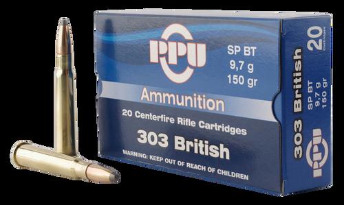 PPU Standard Rifle 303 British 150gr, Soft Point, 20rd Box