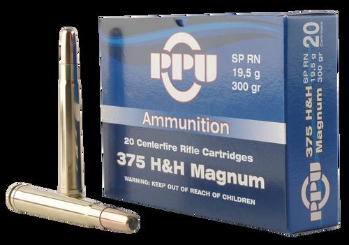 PPU Standard Rifle 375 Holland & Holland Magnum 300gr, Soft Point Round, 10rd Box