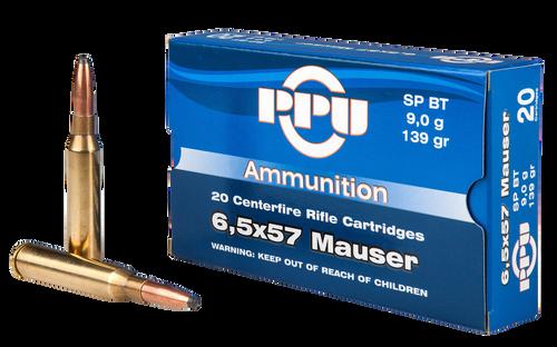 PPU Metric Rifle 6.5x57mm 139gr, Soft Point Boat Tail, 20rd Box