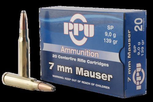 PPU Metric Rifle 7mm Mauser 139gr, Soft Point, 20rd Box