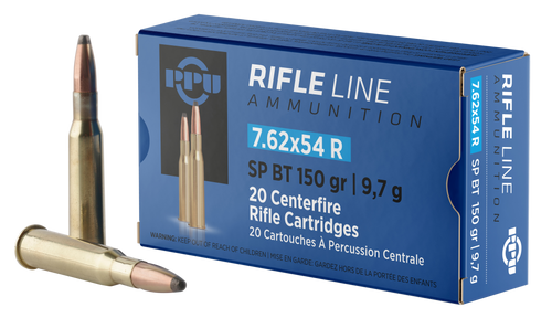 PPU Metric Rifle 7.62x54mm Russian 150gr, Soft Point, 20rd Box