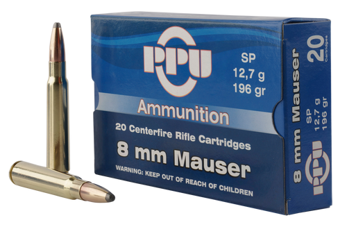 PPU Metric Rifle 8mm Mauser 196gr, Soft Point, 20rd Box