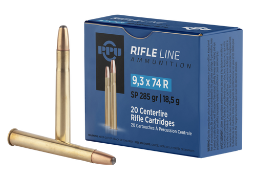 PPU Metric Rifle 9.3mmX74R 285gr, Soft Point, 20rd Box