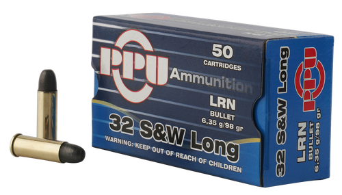 PPU Handgun 32 Smith & Wesson Long 98gr, Lead Round Nose, 50rd Box