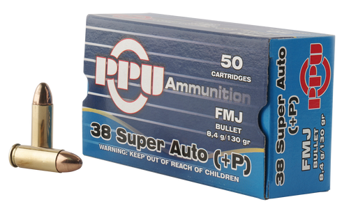 PPU Handgun 38 Super +P 130gr, Full Metal Jacket, 50rd Box