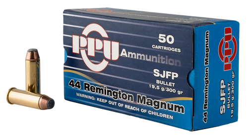 PPU Handgun 44 Rem Mag 300gr, Semi Jacketed Flat Point, 50rd Box