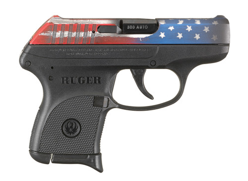 "Ruger LCP, Semi-automatci Pistol, Centerfire, 380ACP, 2.75"" Barrel, American Flag Slide Finish, Alloy Steel Slide, Nylon Frame, Integral Sights, 6Rd"
