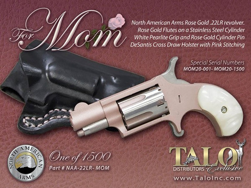 "North American Arms MOM Mini Revolver 22LR 1/1/8"" Barrel Rose Gold, White Pearl Grips, With Holster"