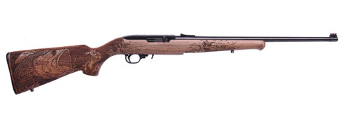 "Ruger 10/22 .22 LR, 18.5"" Barrel, Engraved Bass Walnut Stock, 10rd"