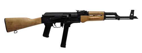 "Century Arms WASR-M, Semi-automatic, AK Style Rifle, 9mm, 16.25"" Barrel, Black, Wood Stock, 33Rd, Includes 1 Magazine"