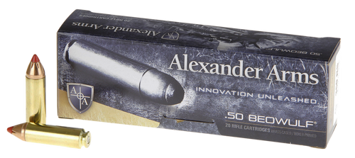 Alexander Arms .50 Beowulf 300gr Hornady FTX, Box of 20
