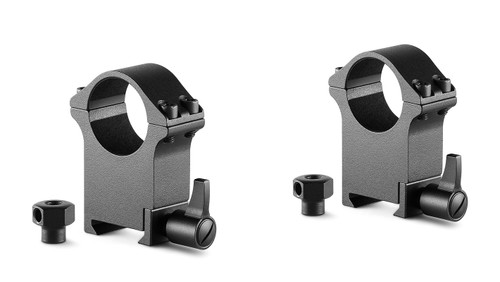 """Hawke Professional Steel Ring Mounts 1"""", Extra High, With Lever (Fitted) & Nut"""