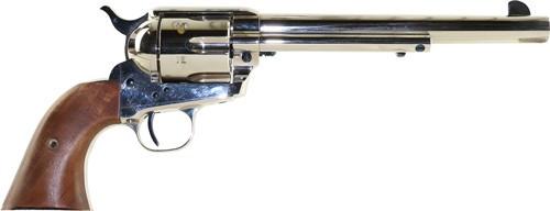 """Standard Mfg Single Action Revolver 45 Colt 7.5"""" Barrel, Nickel Plated, Walnut 1 Pc Grip"""
