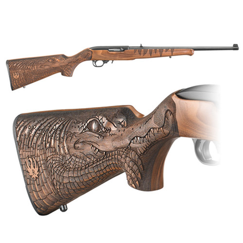 """Ruger 10/22 Deluxe Engraved Gator Stock, Adjustable Rear Sight, Gold Bead Front Sight, Satin Black Receiver & 18.5"""" Barrel, 10 Round 22LR Rotary Magazine"""