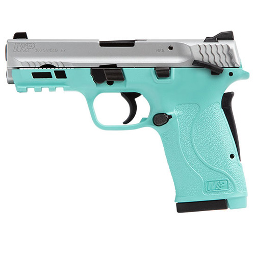 "Smith & Wesson M&P Shield EZ .380 ACP, 3.6"" Barrel, Robin Egg Blue, Silver Slide, 8rd"