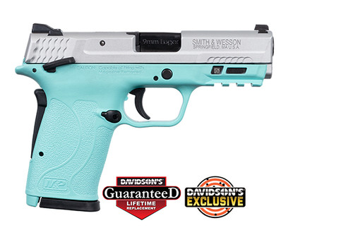 "Smith & Wesson M&P Shield EZ M2.0 9mm, 3.6"" Barrel, Robin Egg Blue, Silver Slide, 8rd"