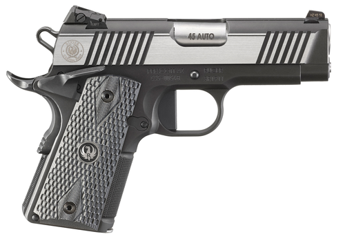 "Ruger SR1911 Officer-Style 45ACP, 3.6"" Barrel, Steel Frame, Two-Tone Finish, 7Rd, Ambi Safety, Tritium Front Sight, Adjustable Rear Sight, Deluxe G10 Grips"